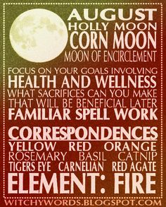 August: Corn Moon esbat ritual goals and correspondences #wicca #pagan #moon