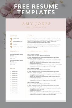 Download our free, modern and professional resume templates. You can easily adjust them in Microsoft Word or Pages and save in PDF if needed.  #freeresumetemplates #resumetemplate #freeresume #professionalresume #resumeprofessionallayout #downloadresume #jobsearch #jobhunt Free Professional Resume Template, Student Resume Template, Resume Template Free, Resume Writing Tips, Resume Tips, Esthetician Resume, Teacher Cover Letter Example, Job Interview Preparation, Job Resume Examples