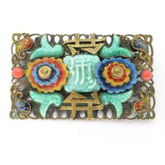 Vintage Czech Art Deco Neiger Oriental Peking Glass Enamel Pin Brooch | Clarice Jewellery | Vintage Costume Jewellery