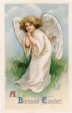 Darling Vintage Easter Angel Girl! - The Graphics Fairy