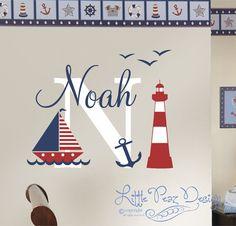Etiqueta de la pared náutico - vela pared etiqueta - etiqueta de la pared de nombre vela - náutica pared decoración - calcomanía de habitación de bebé náutica - nombre personalizado pared calcomanía