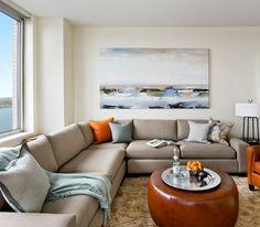 Beautiful Beach Wall Art and Corner Grey Sofa Sets in Modern Apartment Living Room Design