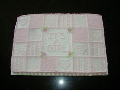 Baby Girl Quilt we needed a lot of cake for a large shower so this was a simple and easy design. all buttercream Mini Tortillas, Baby Girl Quilts, Girls Quilts, Quilt Baby, Baby Shower Treats, Baby Shower Parties, Girl Cakes, Baby Cakes, Baby Shower Sheet Cakes