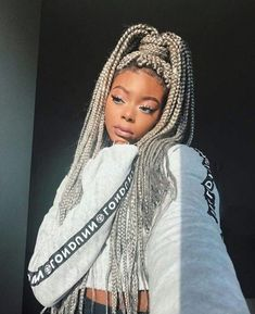 43 Cool Blonde Box Braids Hairstyles to Try - Hairstyles Trends Short Box Braids, Blonde Box Braids, Black Girl Braids, Braids For Black Hair, Girls Braids, Grey Box Braids, Colored Box Braids, Box Braids Hairstyles, African Hairstyles