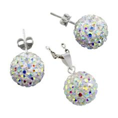 """Sterling Silver and Rainbow White Crystal Glass 12mm Disco Ball Pendant and Stud Earrings Set Avend Concepts. $24.99. Weight: 5.7 gm. Finish: high polish. 925 sterling silver, glass. : diameter: 7/16"""" (12mm). Pendant: length: 3/4"""" (20mm), width: 7/16"""" (12mm). Save 38%!"""
