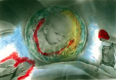 """Mother Earth Ignored 5"""" x7"""" photo painting, one of a kind, non digital. from Ecology series."""
