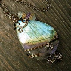 rainbow iridescent Labradorite  wire wrapped necklace