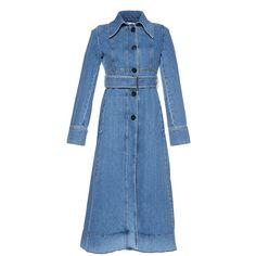 Marni Denim Trench Coat ($1,440) ❤ liked on Polyvore featuring outerwear, coats, blue, marni coat, marni, tie belt, denim coats and denim trench coat