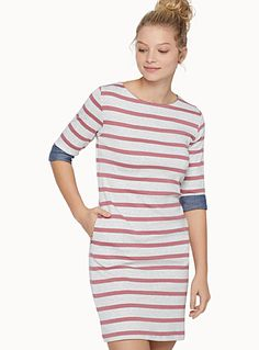 Exclusively from Twik     Must-have nautical-inspired dress with two-tone sailor stripes   Minimalist crew neck   ¾ roll sleeves with contrasting woven chambray lining   Straight, fitted style   Soft, stretch cotton knit    The model is wearing size small    Length: 85cm, from the top of the shoulder