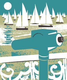 Telescope and yachts print design by Matt Johnson for Seasalt Cornwall