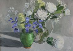 Buy White peonies and blue sweet peas in three vases, Oil painting by Katharine Rowe on Artfinder. Discover thousands of other original paintings, prints, sculptures and photography from independent artists.
