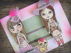 OOAK Original 3D Big Eyed Paper Doll Mixed Media Pop Art - City Slickers