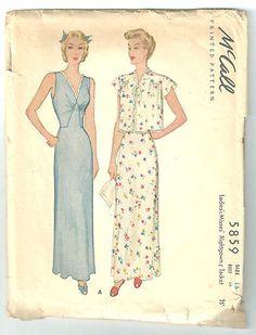 Vintage 1944 McCall 5859 Ladies Misses Nightgown Jacket Sewing Pattern   eBay