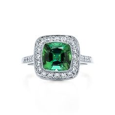 Tiffany Legacy® green tourmaline ring in platinum with diamonds.