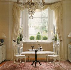 Dec-a-Porter: Imagination @ Home: Classical Curtains: Then and Now.....idea for only valence in kitchen/bay window....