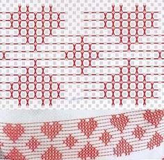 huck embroidery hearts from Patrones Punto de Cruz: punto yugoslavo #freehuckembroidery