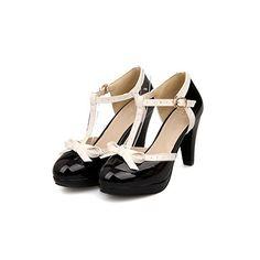 Rockabilly Shoes- Pin Up Heels, T Strap Bows Womens Platform High Heel Pumps Shoes