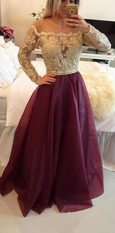 2018 Long Sleeves Prom Dresses Gold Illusion Lace Beaded Burgundy A-line Gorgeous Evening Gowns_Prom Dresses Dresses_Special Occasion Dresses_Buy High Quality Dresses from Dress Factory Prom Dresses Long With Sleeves, A Line Prom Dresses, Homecoming Dresses, Formal Dresses, Dress Prom, Prom Gowns, Dresses 2016, Party Dress, Pageant Dresses For Teens