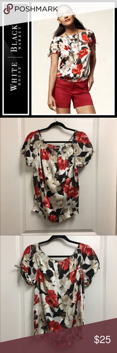 White House Black Market Floral Smocked top White House Black Market Floral Smocked top  Perfect, like new condition - silky blouse from WHBM. Size large White House Black Market Tops Blouses