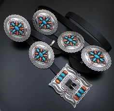 Darrell Cadman (Navajo) - Turquoise & Spiny Oyster Shell Stamped Sterling Silver Concho Belt #33988 $4,200.00