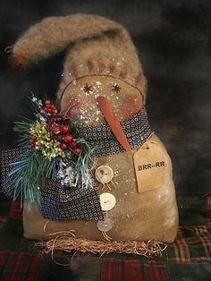 "★ Primitive 12 "" Snowman ★ on Base Doll Sparkled Glittered 12 x 9 In | eBay"