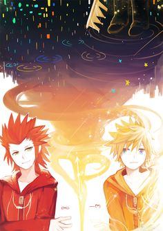 Pixiv Id 1595119, Kingdom Hearts 358/2 Days, Kingdom Hearts, Kingdom Hearts II, Roxas, Axel (Kingdom Hearts)
