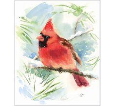 Cardinal Bird - Original Watercolor Painting 8 x 10 inches Winter Christmas Snow $58.00