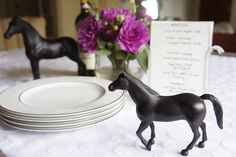 Kentucky derby party ideas - Spray paint horse figures black