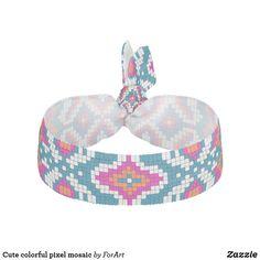 Cute colorful pixel mosaic elastic hair tie Elastic Hair Ties, Party Hats, Mosaic, Art Pieces, Colorful, Cute, Accessories, Hair Tie, Artworks