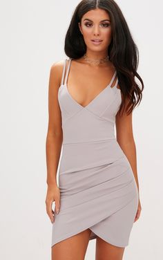 Ice Grey Double Strap Wrap Skirt Bodycon DressLook super cute in this bodycon dress. Grey Bodycon Dresses, Tight Dresses, Dance Dresses, Sexy Dresses, Cute Dresses, Short Dresses, Bandage Dresses, Elegant Dresses, Prom Dresses