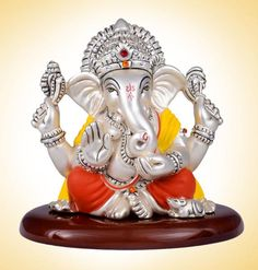 Sterling Silver Coloured Dharmik Ganesha - devotionalstore.com