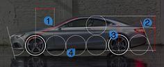 벤츠 S클래스의 비례도 입니다 휠베이스는 3개이고 전고는 2개입니다 쿠페형 디자인 답게 전고점이 낮고 휠베이스가 긴 특징을 갖고 있습니다