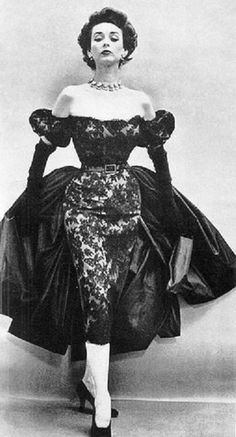 Dorian Leigh in a dress by Don Ell Fashions, 1951.