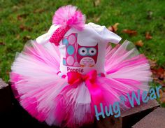 Omg! I so want this for Teaghans birthday!!!  Custom Owl Birthay tutu with age Personalized  Ht pink by HugWear, $39.95