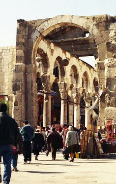 Roman Colonnade leading into the temple of Jupiter ( today's Umayyad mosque)  Damascus, Syria