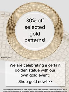 30% off selected gold patterns this weekend! http://noritakechina.com/collections/all-patterns.html?band=32&p=all