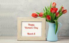Dzbanek, Tulipany, Ramka, Dzień Kobiet