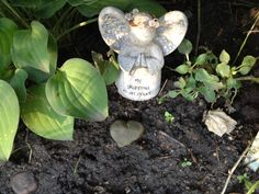 Ground any project you begin with Love. --(Angel in the Fairy garden with heart-shaped rock in Molly and Hailey's Fairy garden). www.violetwisdom.com