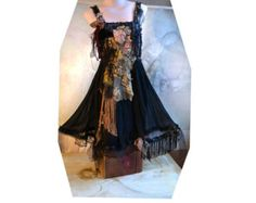 RESERVED Unique Art To Wear Black Georgette Dress  a YUONG VICTORIAN WOMAn  Gothic Victorian Gipsy  Tattered