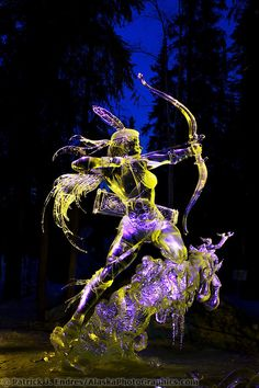 """When we lived in Fairbanks, Alaska... Seeing these artists and their completed sculptures amazed me!! """"Graceful predator"""", by Junichi Nakamura and,Tajana Raukar. Single Block 2003 World Ice Art Championships, Fairbanks Alaska."""