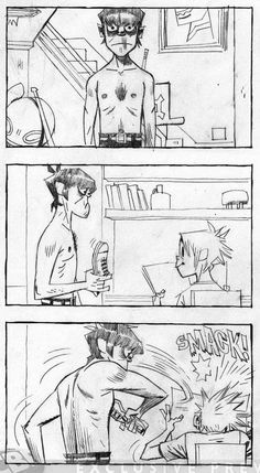 "from the original ""DoYaThing"" storyboard by Jamie Hewlett (pls do not remove source) this is the greatest thing I have ever seen tbh ; Character Drawing, Character Design, Jamie Hewlett Art, Monkeys Band, Bd Art, Animation Storyboard, Comic Tutorial, Gorillaz Art, Comic Layout"