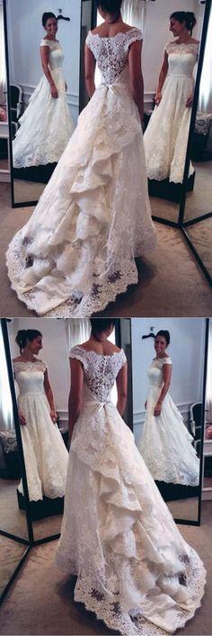 Wedding Dresses A-Line #WeddingDressesALine, Wedding Dresses 2018 #WeddingDresses2018, 2018 Wedding Dresses #2018WeddingDresses, Lace Wedding Dresses #LaceWeddingDresses