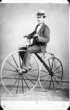Man on a velocipede, circa 1870