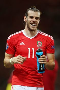 #EURO2016 Gareth Bale of Wales celebrates his team's 30 win in the UEFA EURO 2016 Group B match between Russia and Wales at Stadium Municipal on June 20 2016...