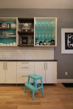 DIY Concrete Countertops – The Reveal #concrete #counters open cabinet, insid cabinet, subway tile, diy concrete countertops, kitchen colours, shelv, concret countertop