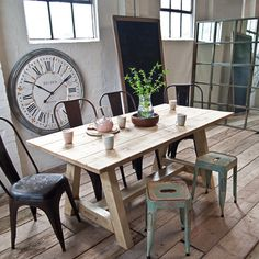 Hand made by British Craftsmen using reclaimed scaffold boards each planed coarsly sanded and still baring the original manufacturers stamp Once used