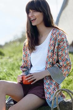 Boswarthen Kimono, Jacquard Knit Long Cardigan - Seasalt
