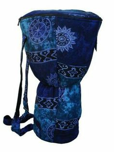 "Blue Celestial Djembe Bag, XXL: 26"" x 16"" by Mother Rhythm Drums. $39.00. Please note this case will NOT fit Remos. In order to pick the correct size bag for your drum you'll need the measurement for the widest part of the drum head (overall head diameter including rings and ropes or tuning hardware) and the height of the drum. This bag will fit djembes that are 26 inches in height or less, with an overall head diameter of 16 inches or less, and playing surface diameters ..."