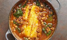 Tom Kerridge's pot-roasted pollock, chickpeas and chorizo. Photograph: Cristian Barnett
