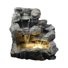 Amazon.com : Jeco Rock Creek Cascading Outdoor Indoor Fountain with Illumination : Floor Standing Fountains : Patio, Lawn & Garden